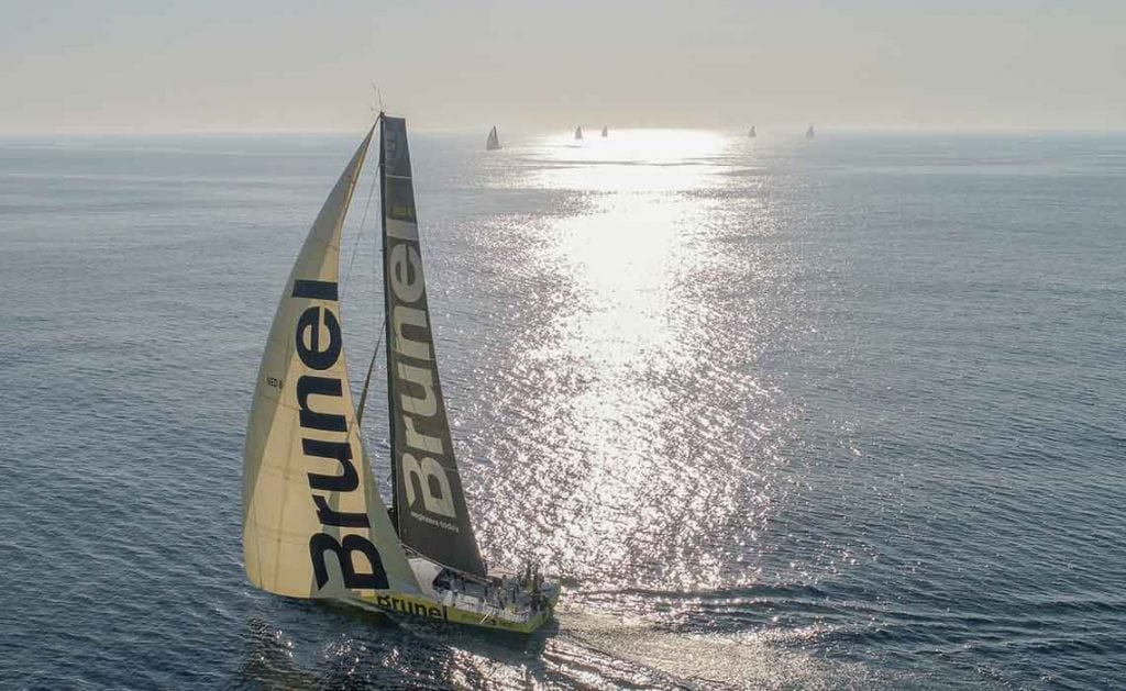 Volvo Ocean Race in Den Haag - Travelvibe: Prologue start on-board Brunel. Drone photos, Brunel in foreground, fleet in the distance. Photo by Rich Edwards/Volvo Ocean Race. 08 October, 2017