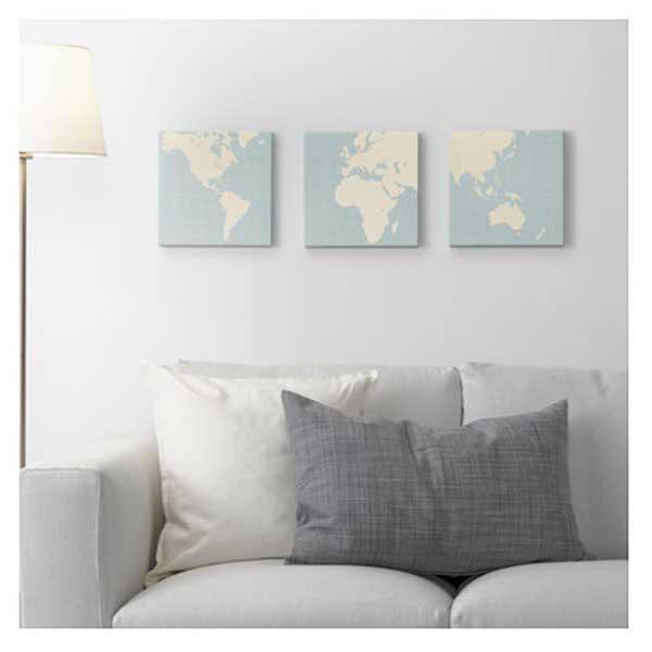 3 wereldkaarten IKEA PJÄTTERYD - Travelvibe