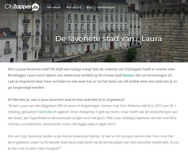 Cityzapper interview Favoriete stad van Travelvibe Nantes