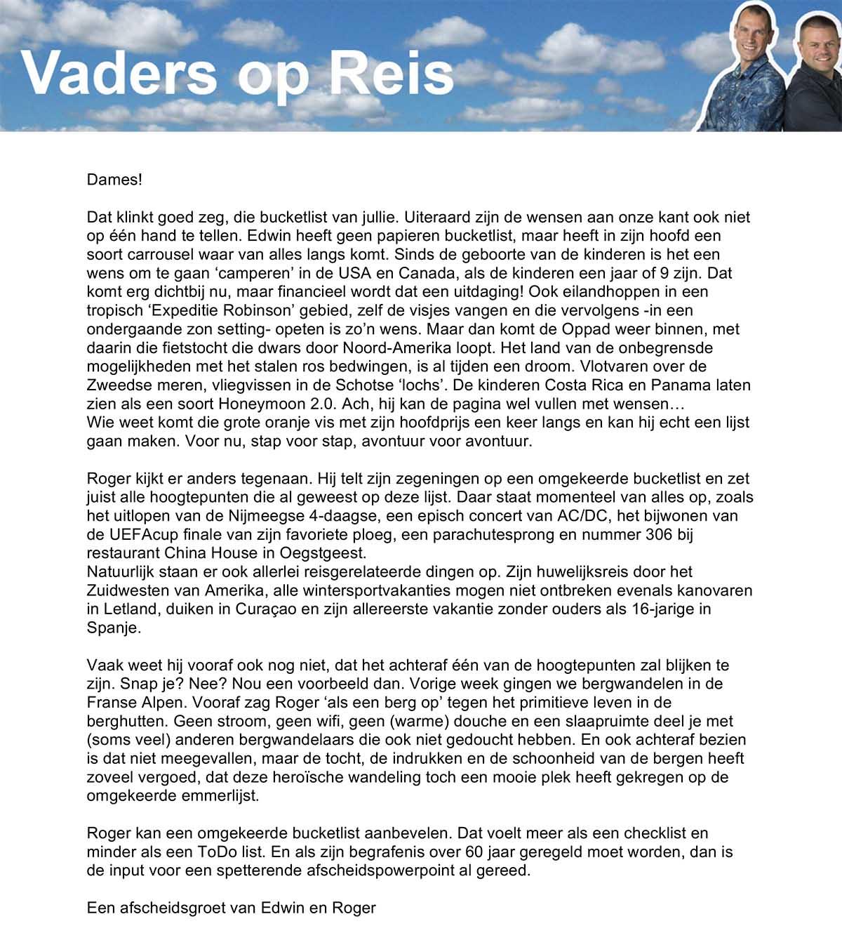 Column Vader op Reis - Travelvibe op de Bucketlist