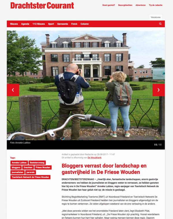 Travelvibe in Drachtster Courant 28-08-17