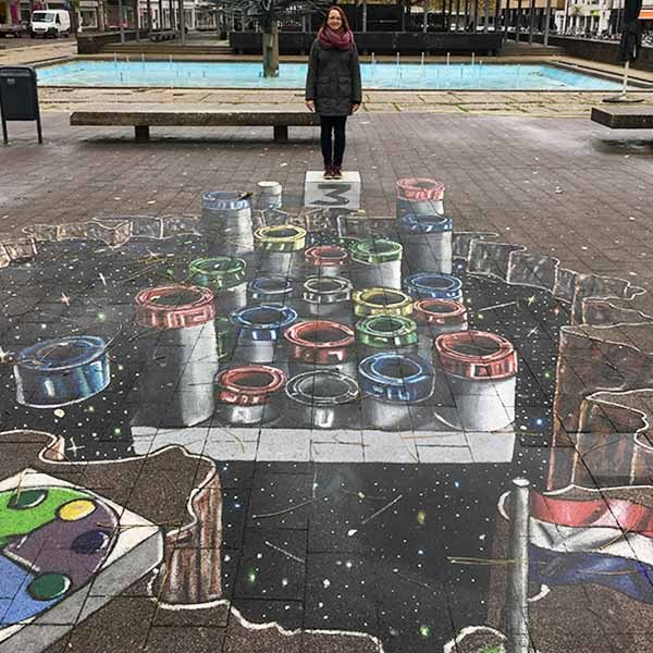 3D Streetart in Arnhem op de Veluwe