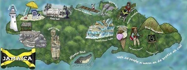 DTAT map art Jamaica - Travelvibe