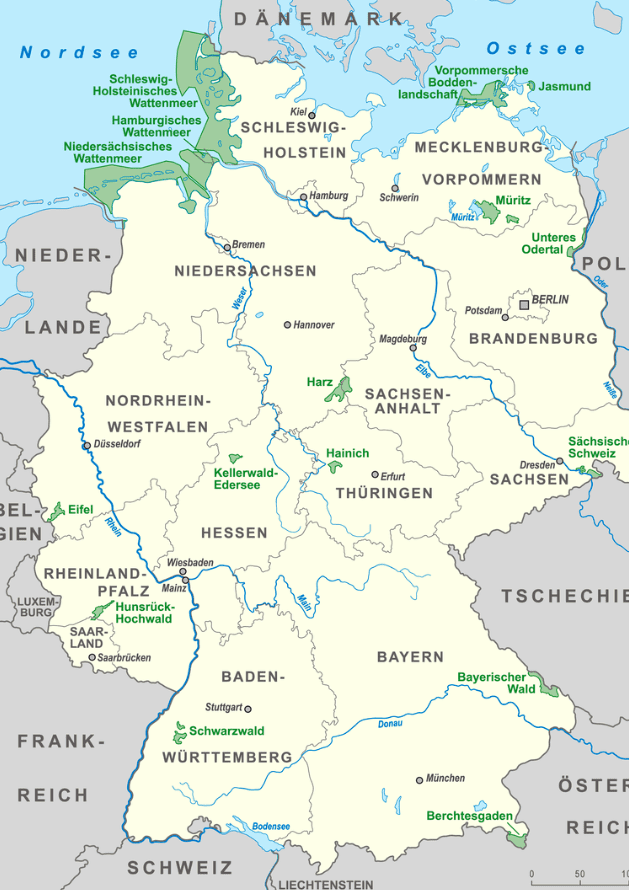 Nationale Parken Duitsland kaart