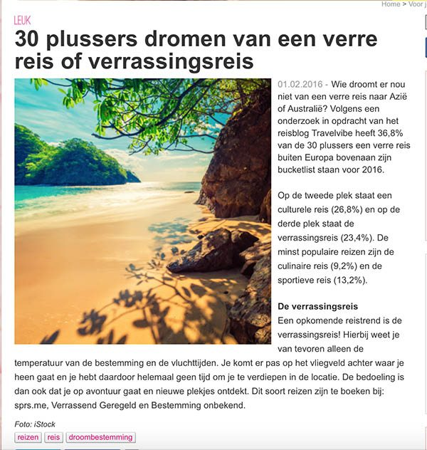 Travelvibe in de media - Vriendin februari 2016