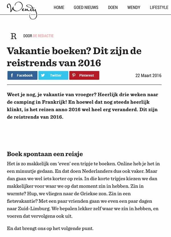 Travelvibe in de media - Wendy maart 2016
