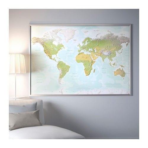Wereldkaart Ikea bjorksta - Travelvibe