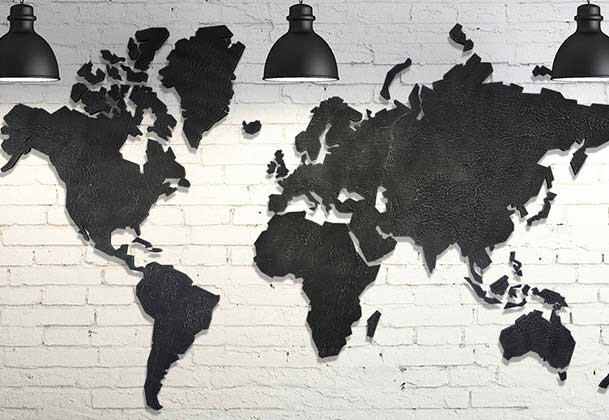 Handgemaakte wereldkaart