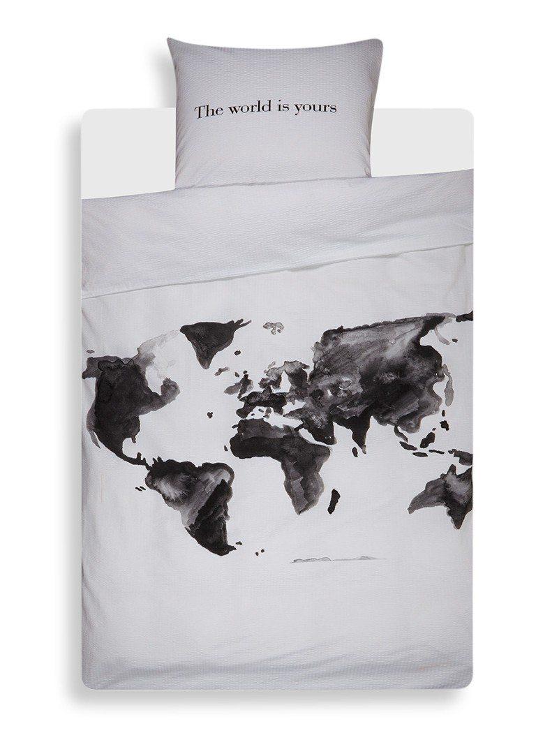 Dekbedovertrek met wereldkaart zwart wit | Travelvibe