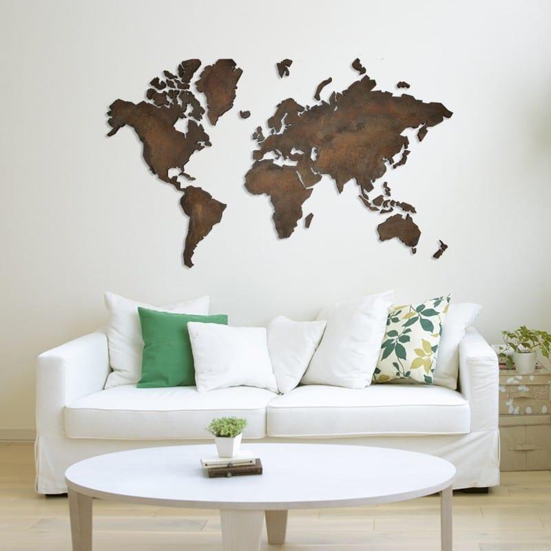 Eyecatcher handgemaakte wereldkaart travelvibe - Toilet aan de muur ...
