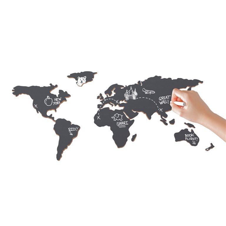 krijtbord wereldkaart - travelvibe