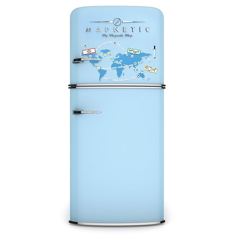 Magnetische wereldkaart op koelkast - Travelvibe