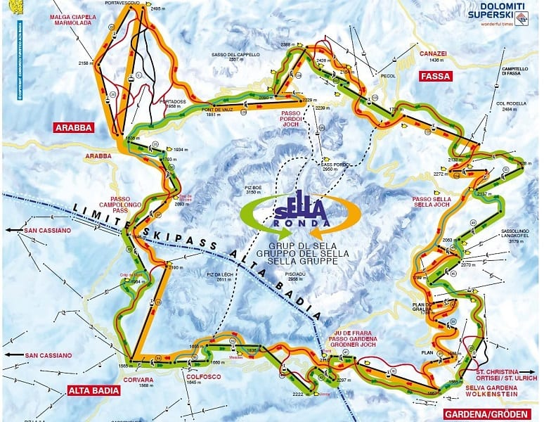 sella ronda piste plan
