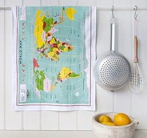 wereldkaart op theedoek - Travelvibe