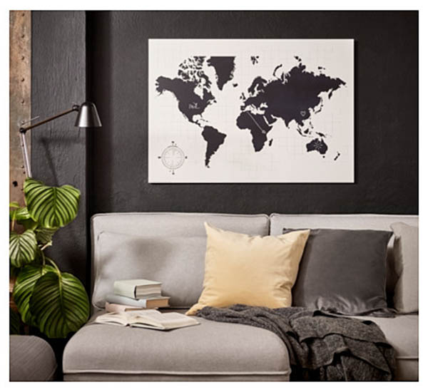 wereldkaart planbord IKEA MOLTORP - Travelvibe