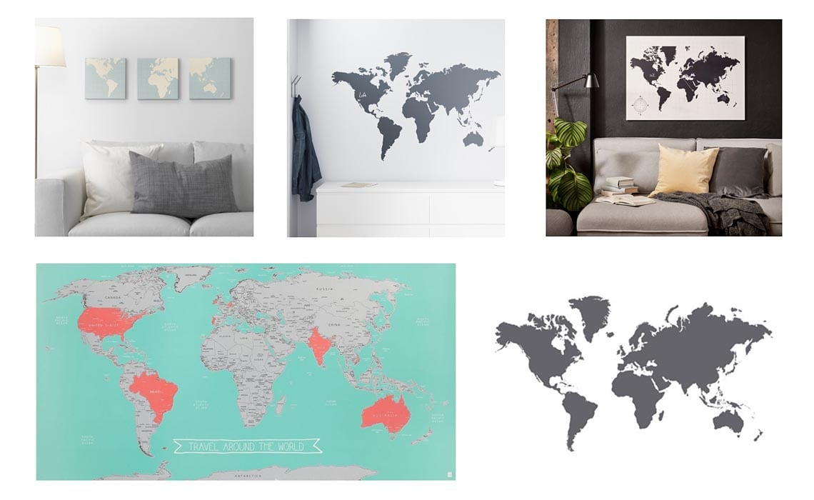wereldkaarten shoppen bij ikea en hema - travelvibe