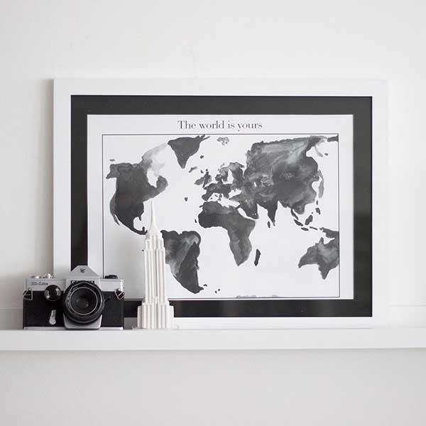 wereldkaart zwart wit - travelvibe